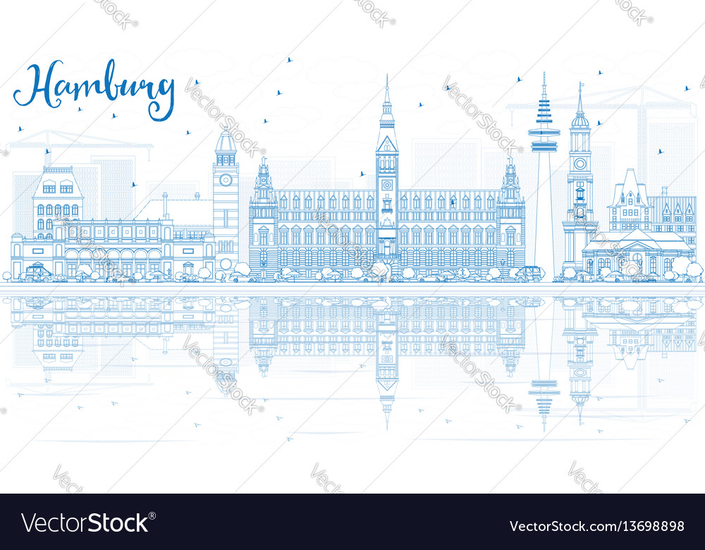 Outline hamburg skyline with blue buildings and
