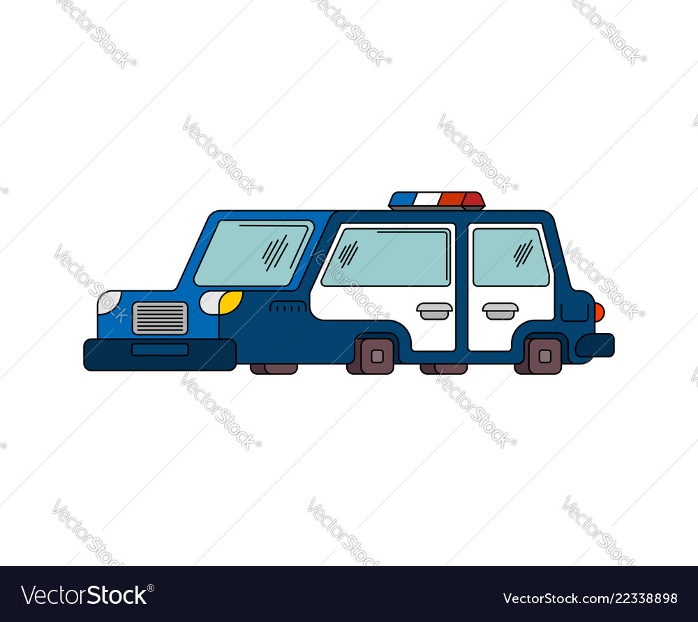 Police car cartoon style patrol car