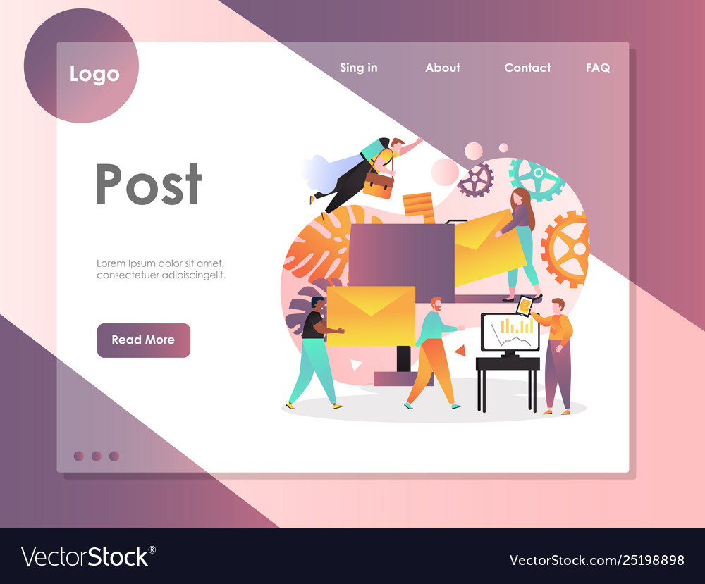 Post website landing page design template