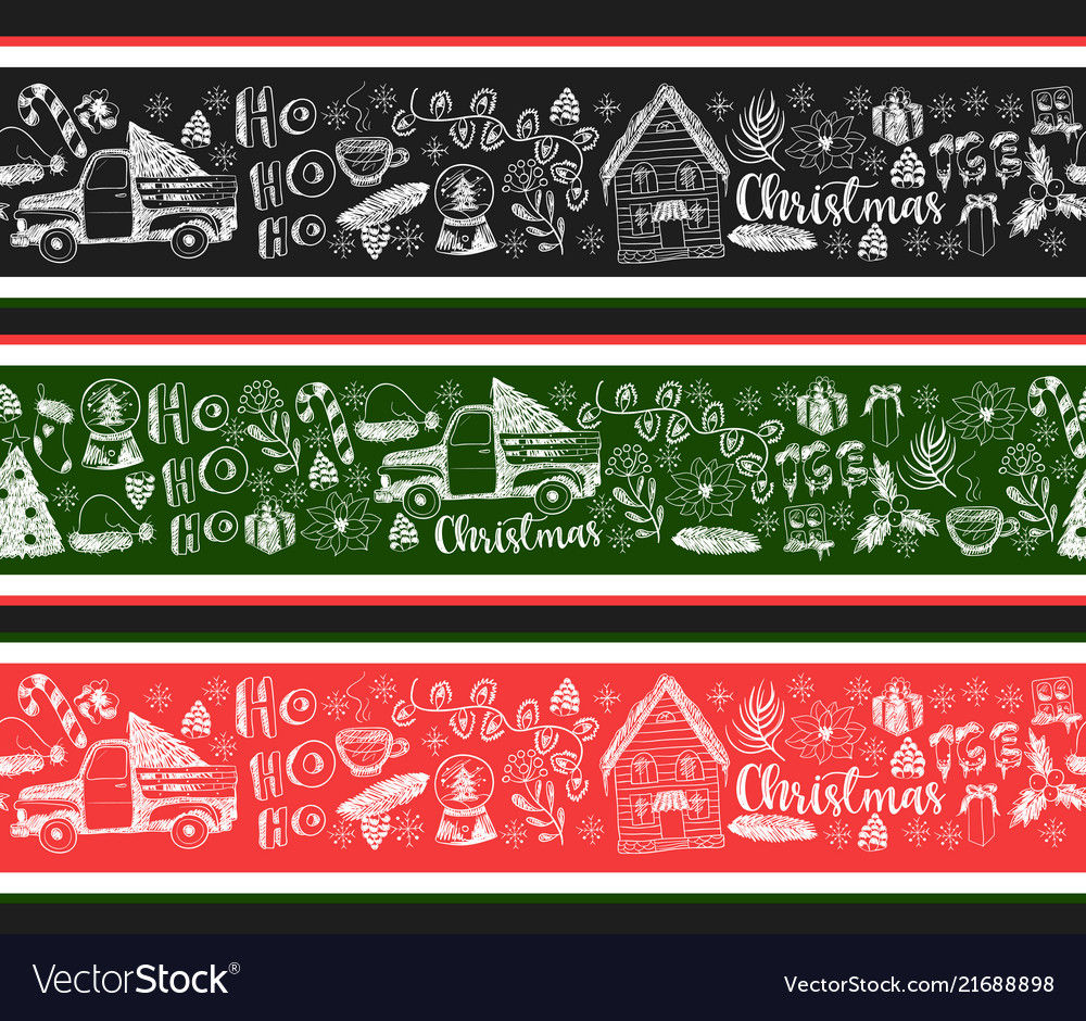 Seamless border with christmas elements