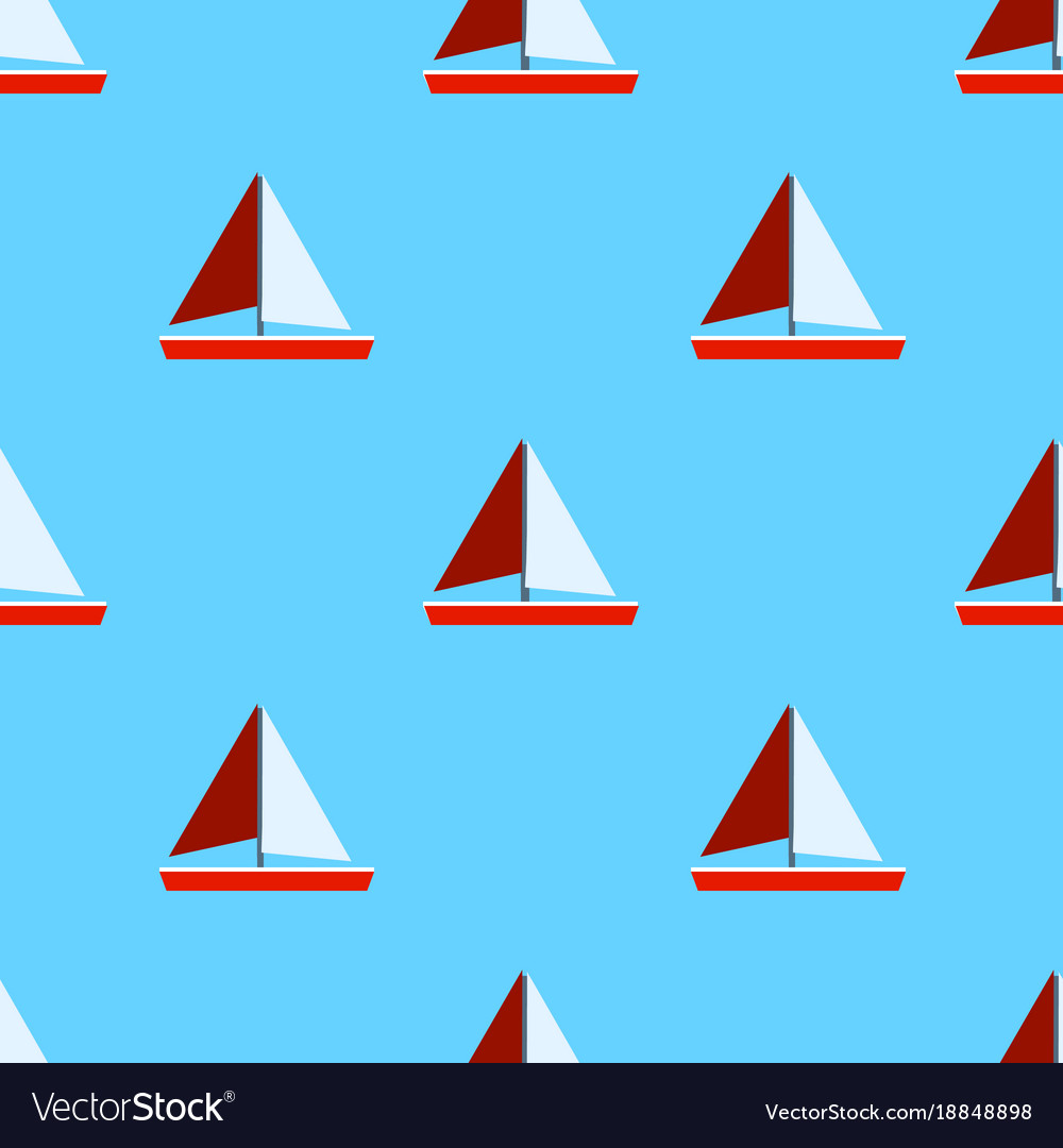 Seamless sea pattern with sailing ships and