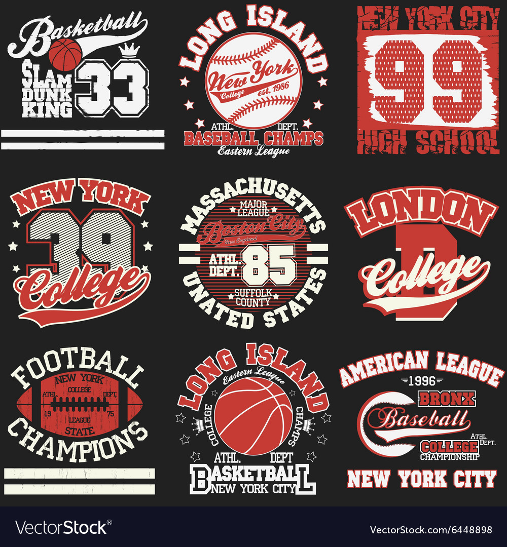 Sport t-shirt set vector image