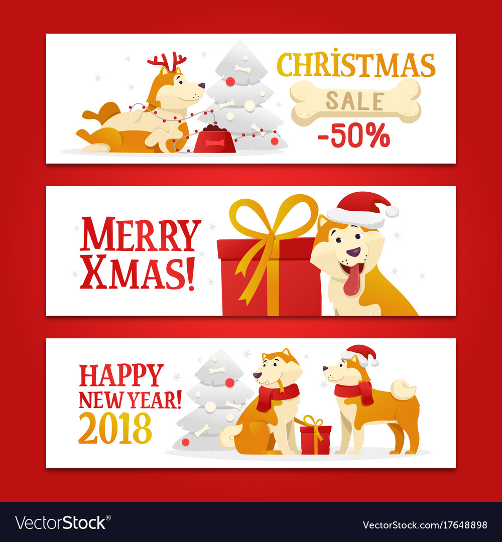 Three new year 2018 and christmas horizontal