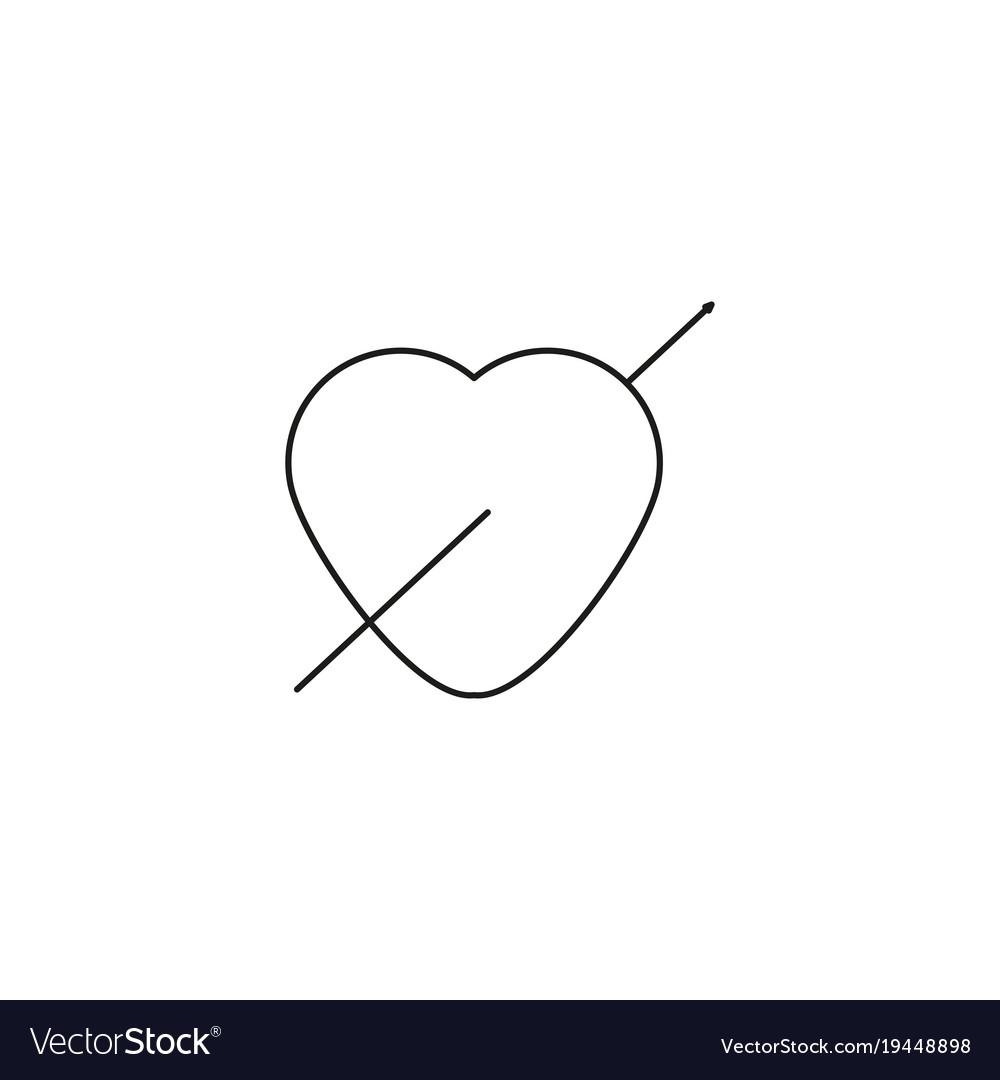 Valentine heart arrow icon