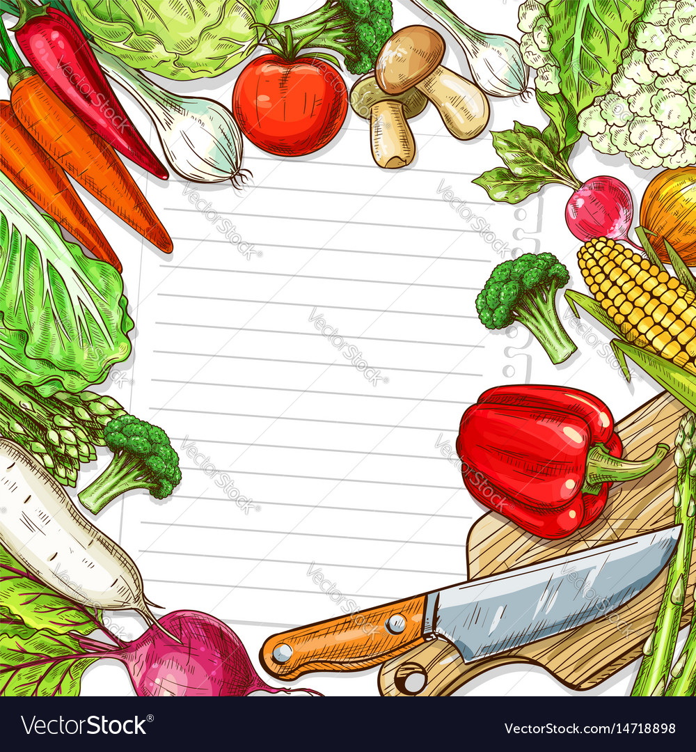 Vegetables design for recipe blank note vector image