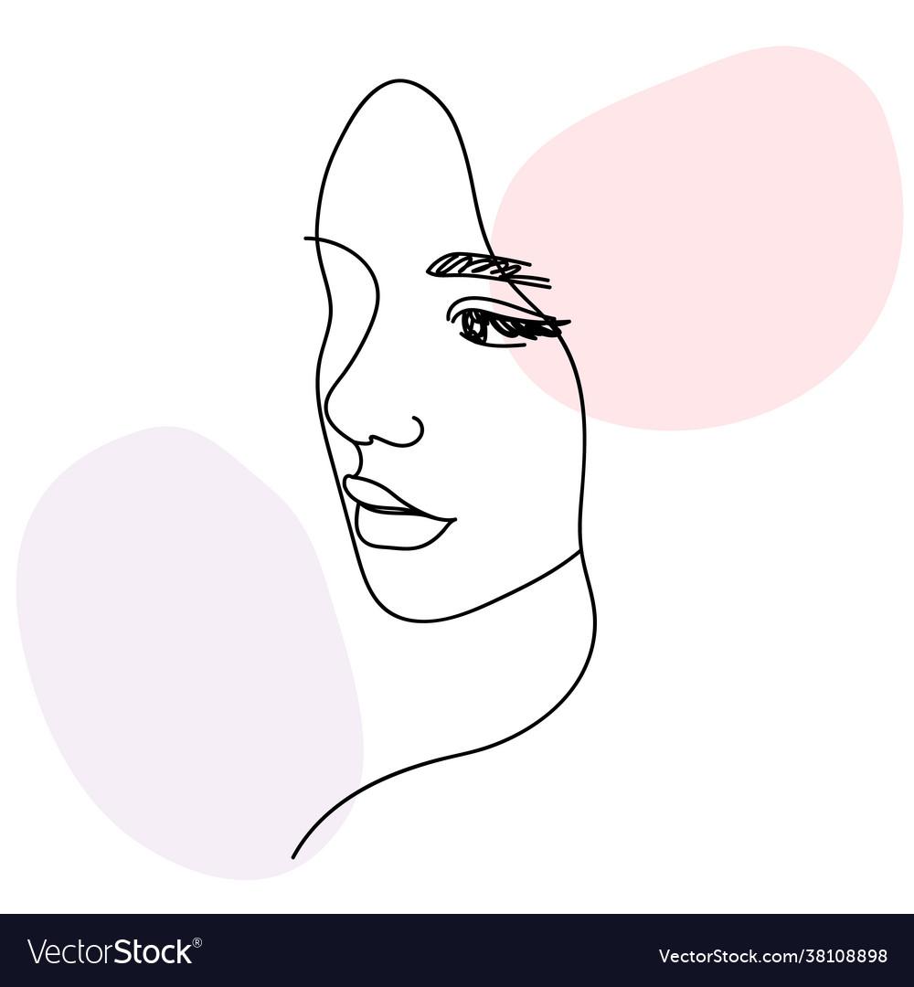 Woman face portrait in minimalist aesthetic style