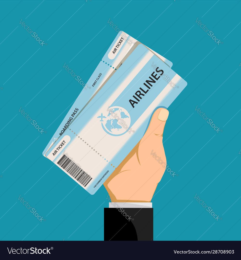 Air ticket in hand a man