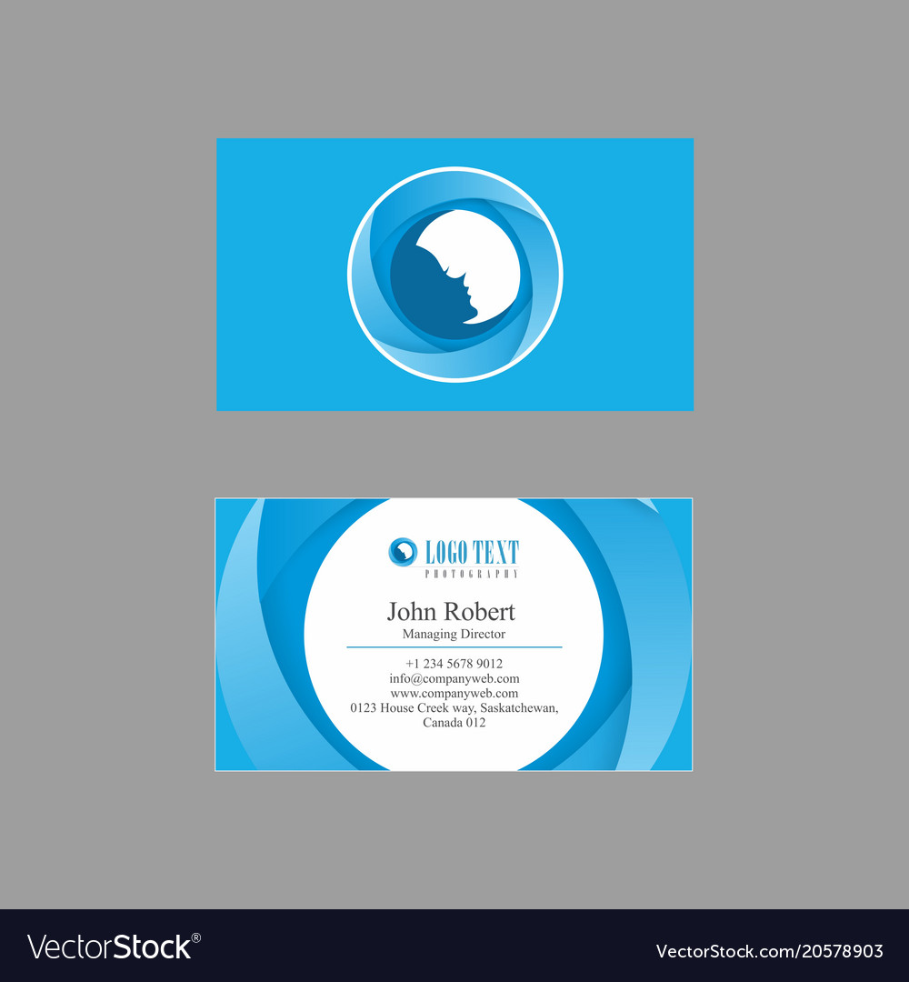 Blues shaded business card design with circular vector image colourmoves