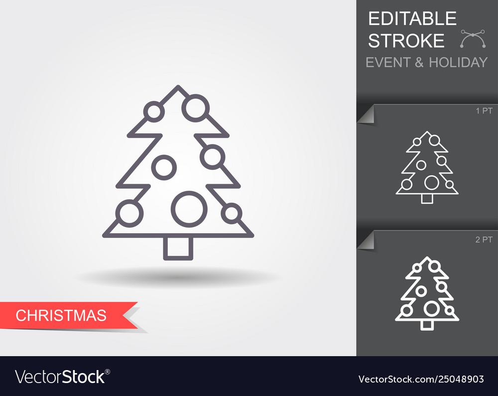 Christmas tree line icon with editable stroke