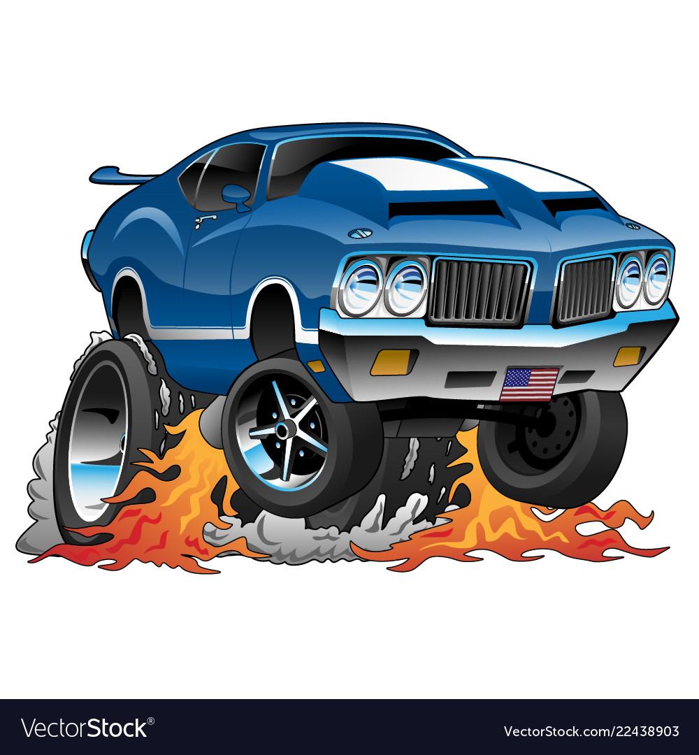 Classic Seventies American Muscle Car Cartoon Vector Image
