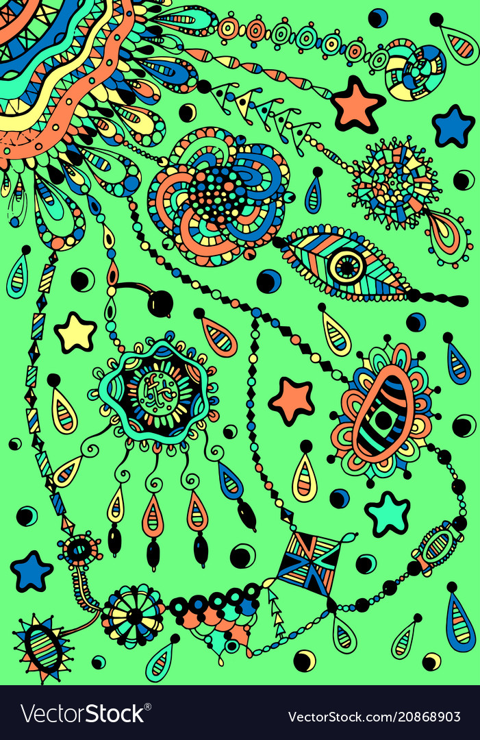 Dreamcatcher shamanic colorful artwork eye stars