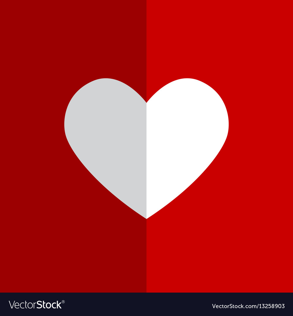 Flat white heart on red background