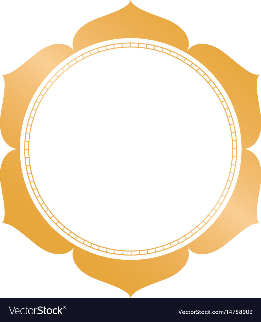 Golden circle frame with decorative leaves
