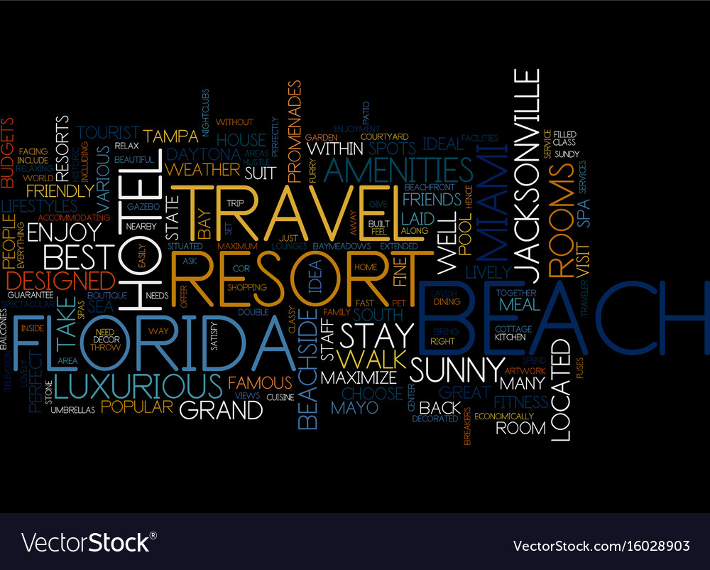 Grand resort travel in florida text background vector image