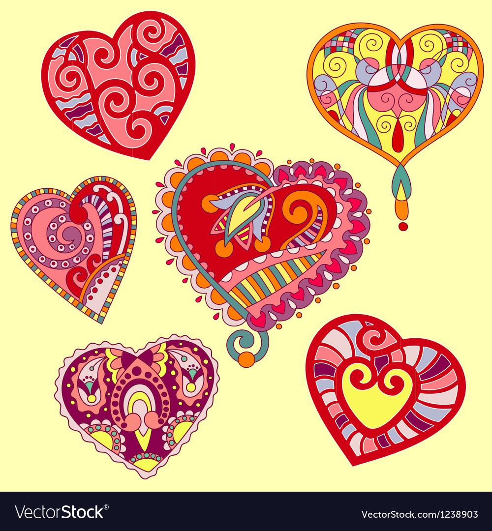 Hand Draw Ornate Heart Shape Set Royalty Free Vector Image
