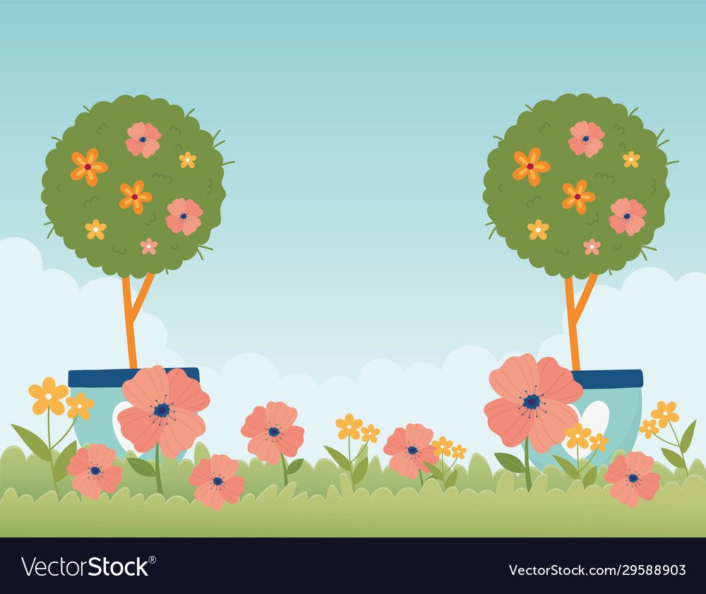 Happy spring garden potted trees flowers grass