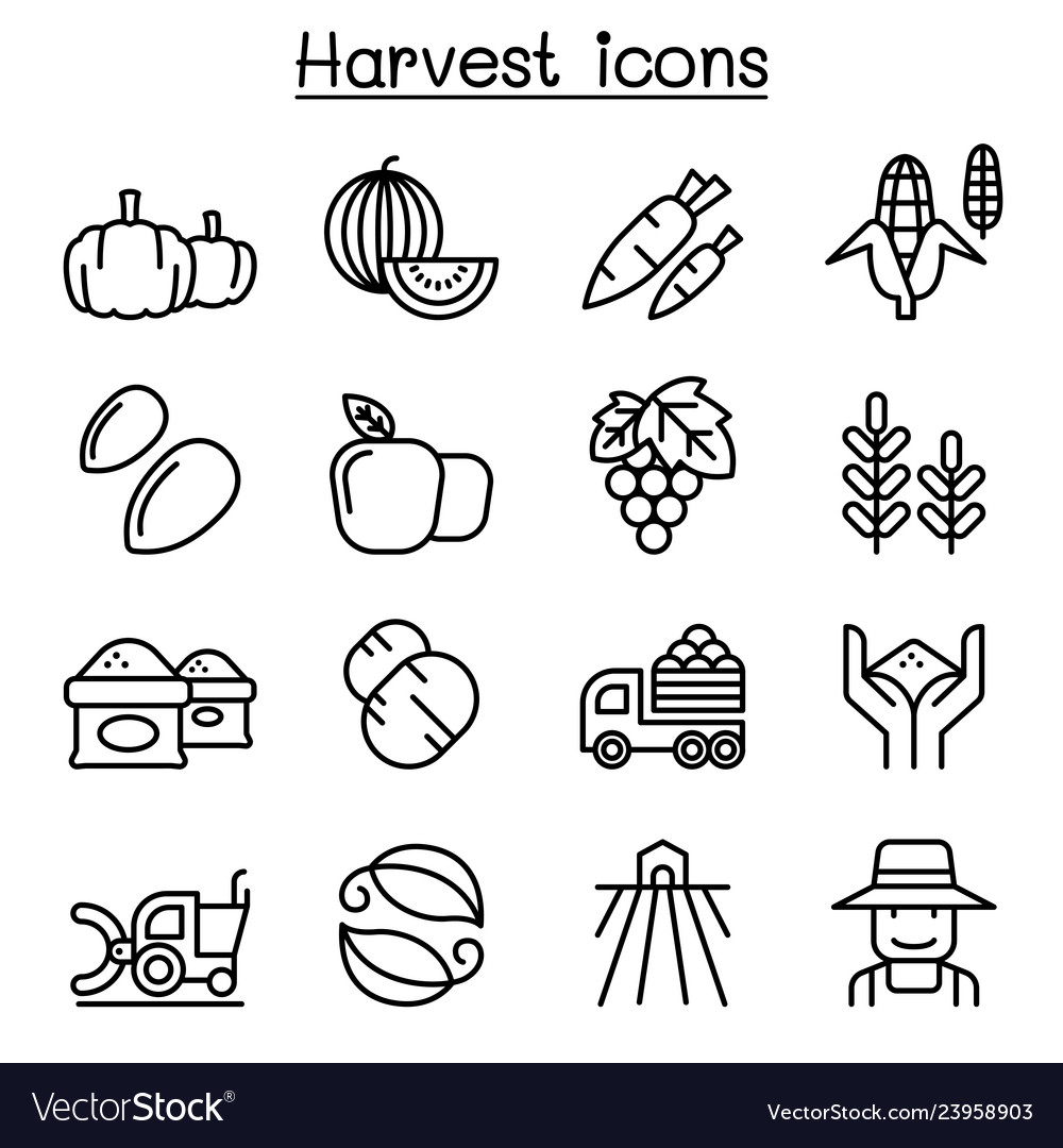 Harvest icon set in thin line style