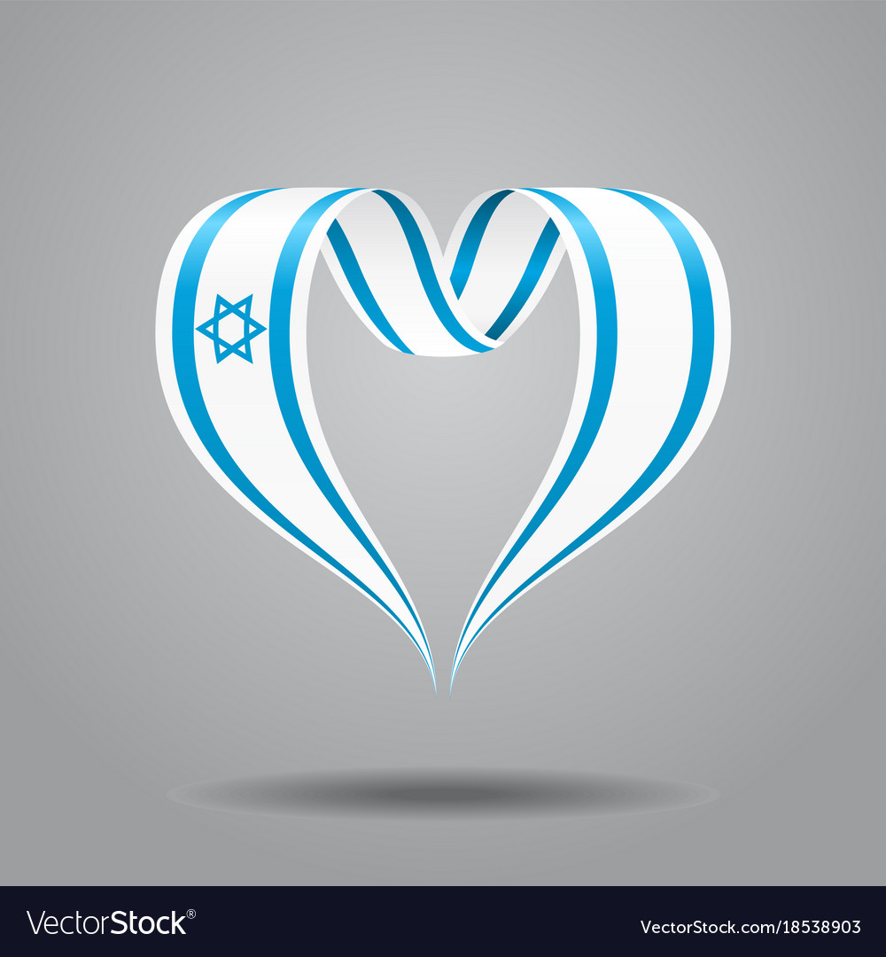 Israeli flag heart-shaped ribbon
