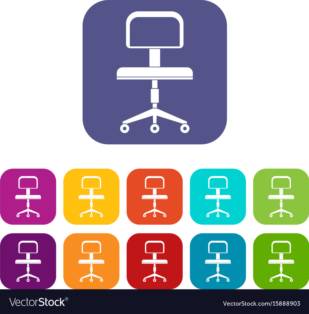 Office a chair with wheels icons set flat