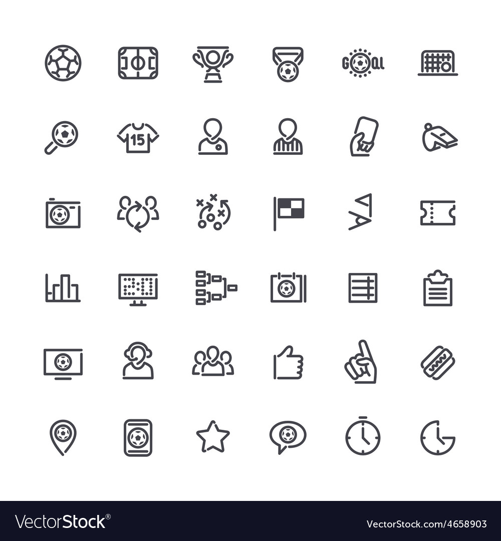 Outline Icons on the Theme of Soccer