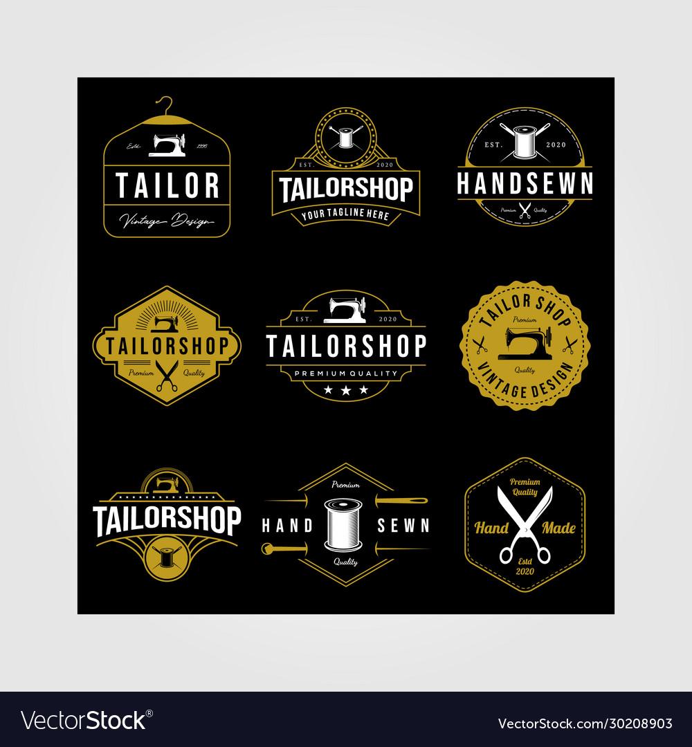 Set vintage tailor shop sewn logo on dark