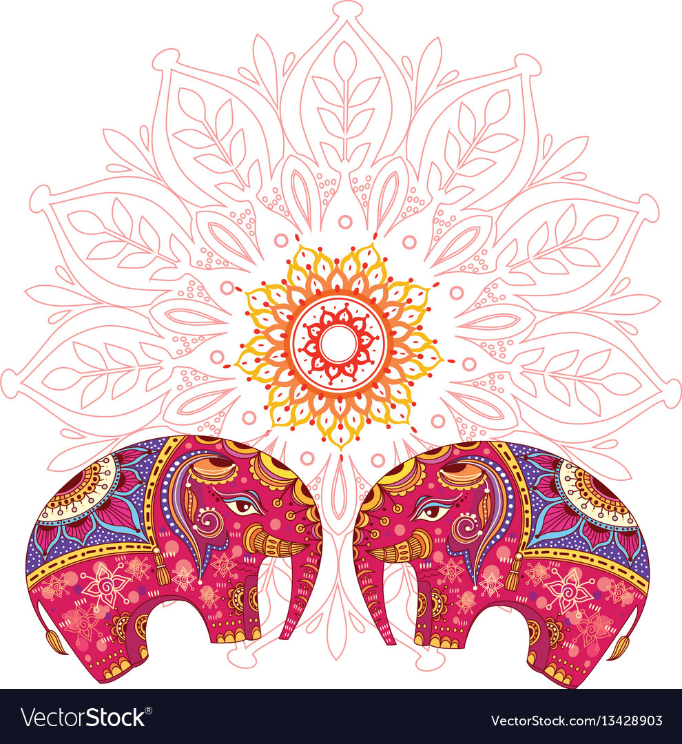 Two elephants over mandala pattern