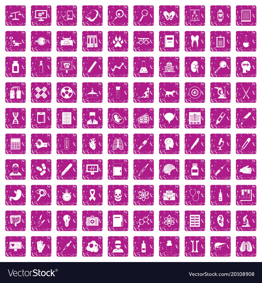 100 diagnostic icons set grunge pink vector image