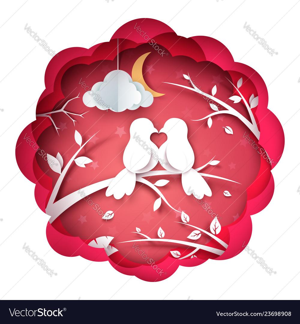 Bird and love paper landscape