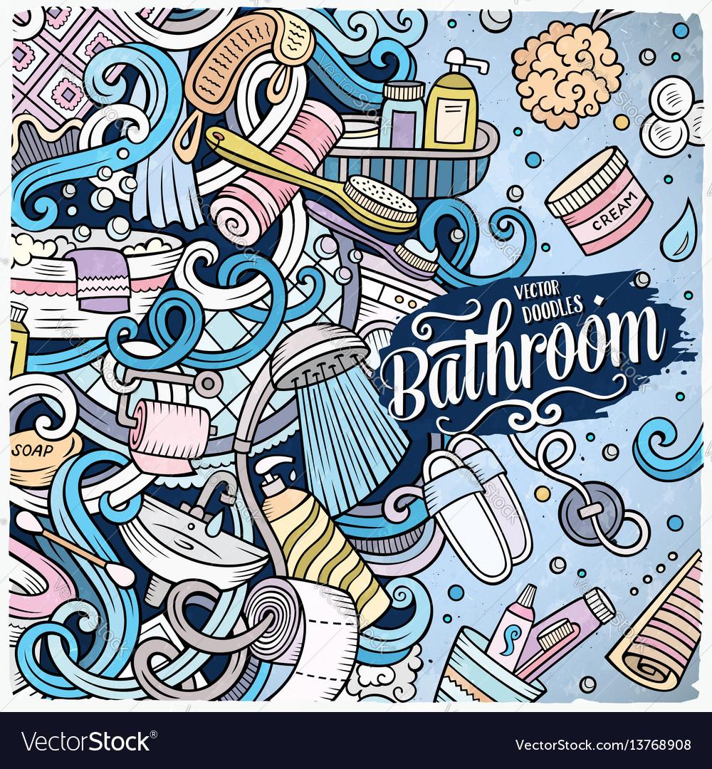 Cartoon doodles bathroom frame