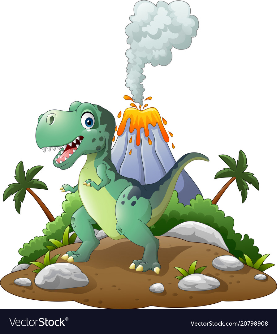 Cartoon happy dinosaur in prehistoric background