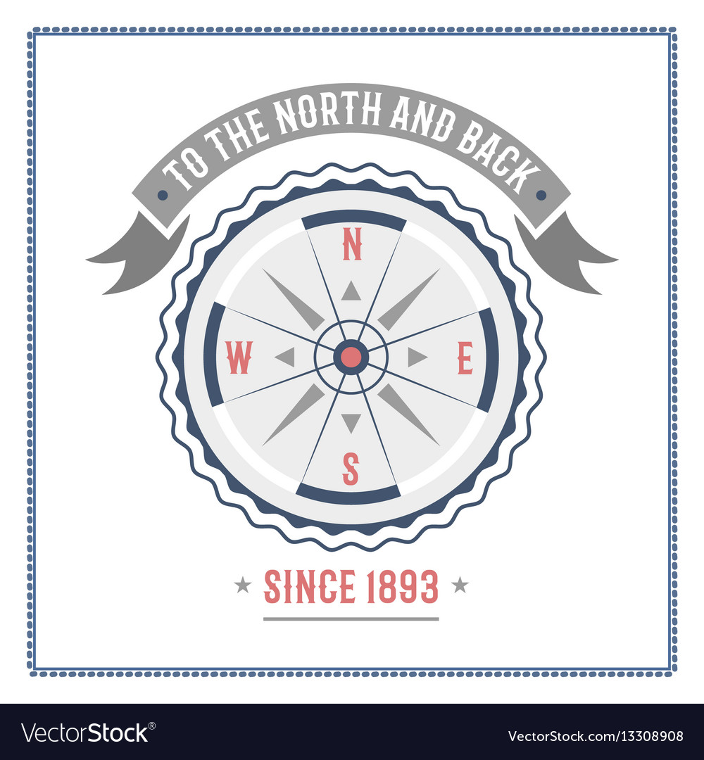 Compass nautical and marine sailing themed label
