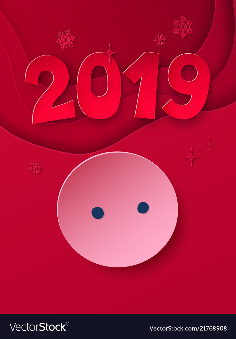Cut paper art style new year postcard