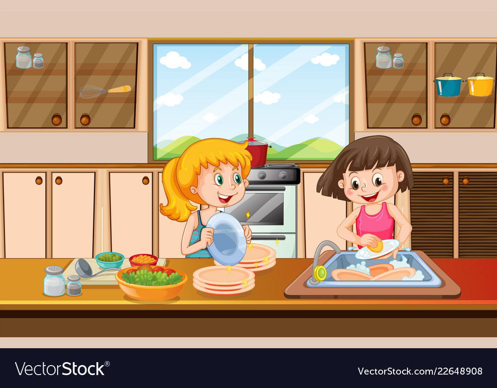 Girls cleaning dish in kitchen