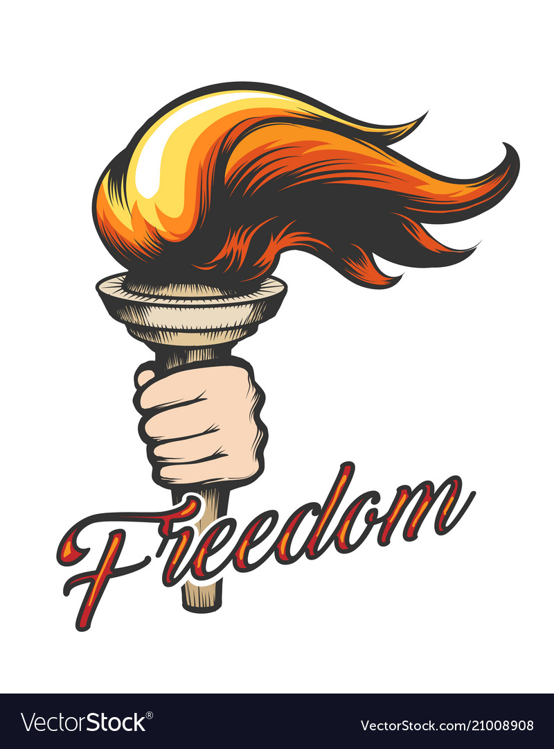 Hand with torch and wording freedom