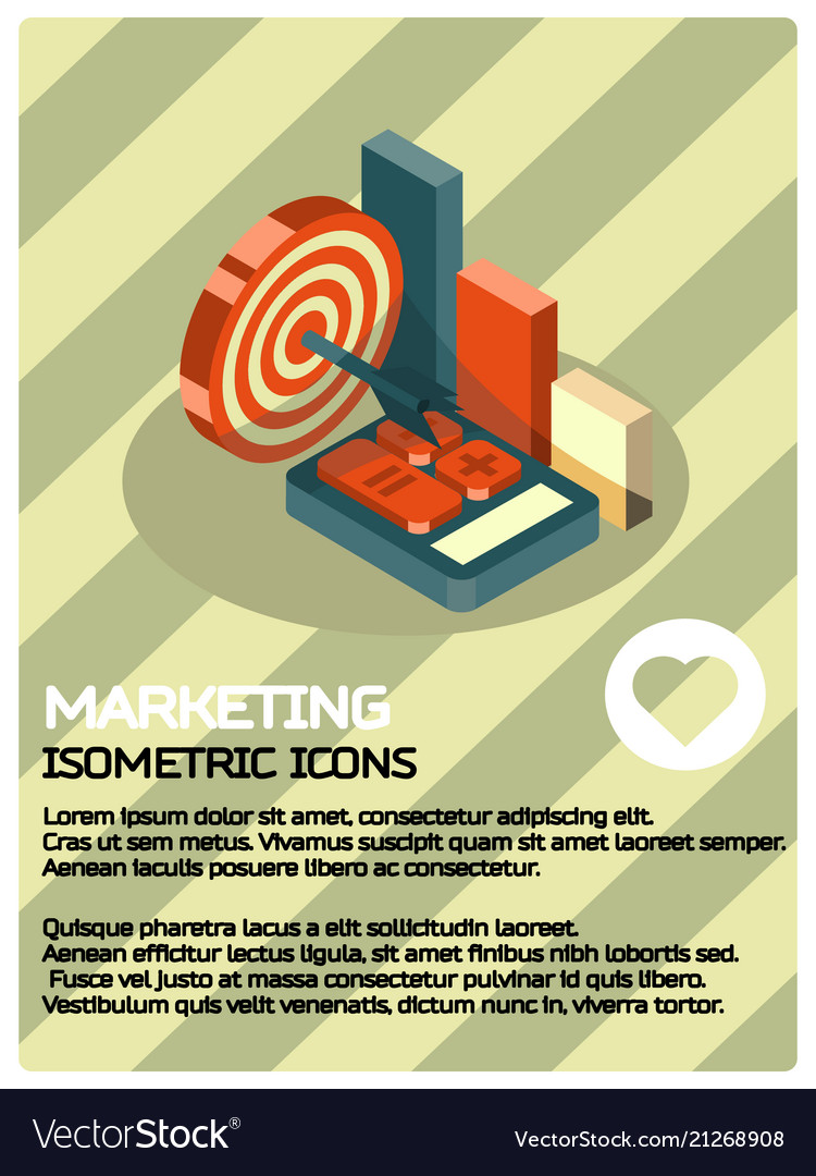 Marketing color isometric poster