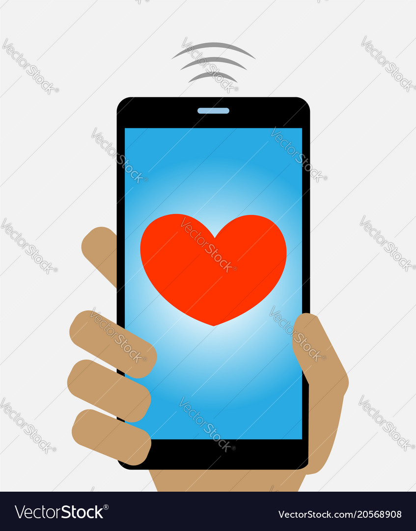 Mobile phone screen with red heart concept image