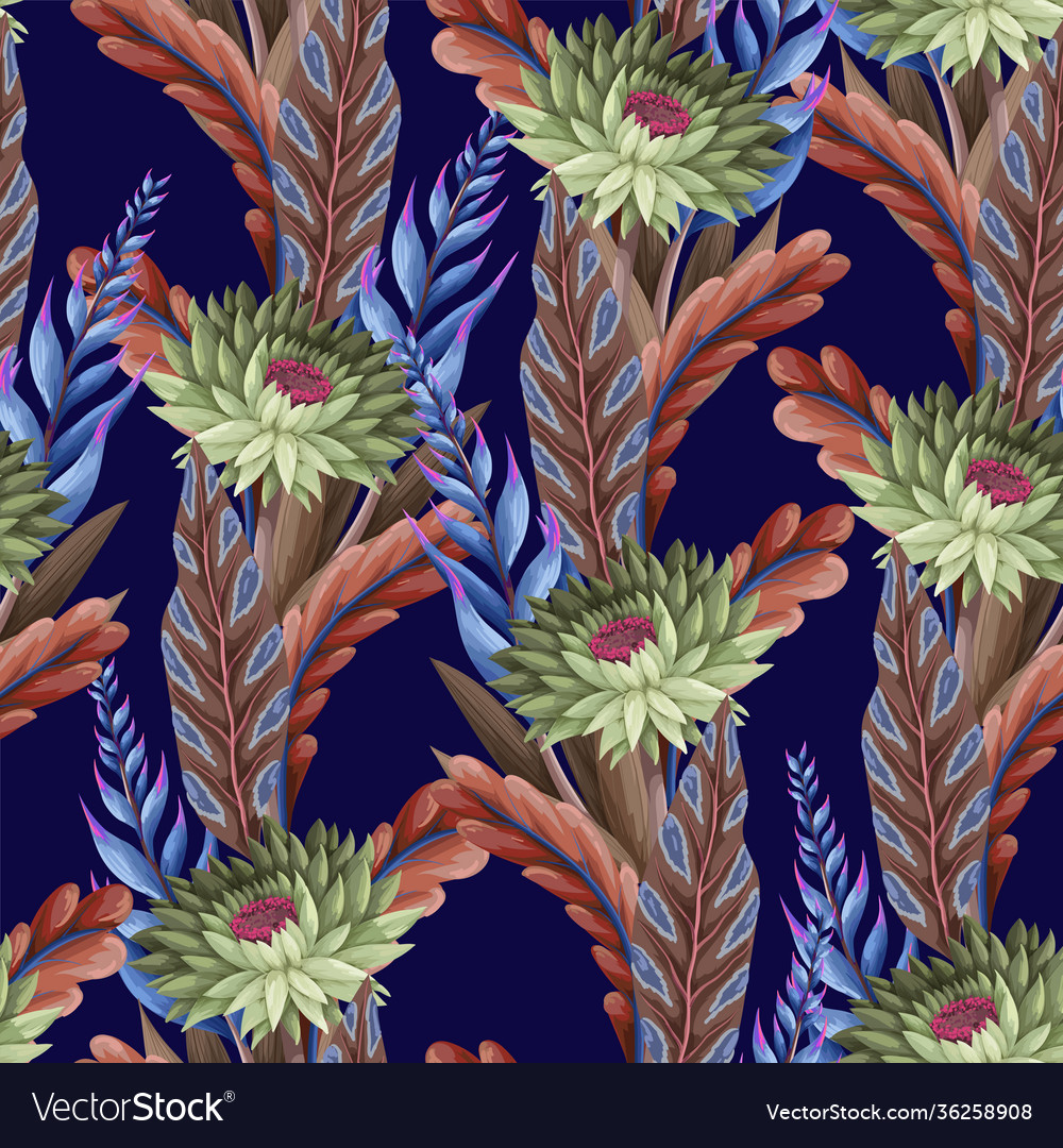 Seamless pattern with tropical flowers trendy