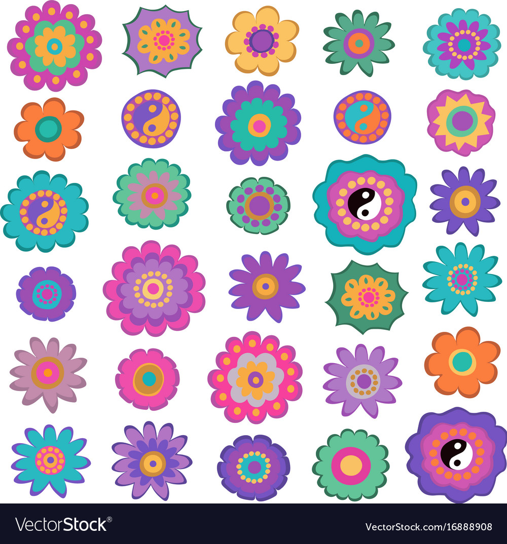 Set of colorful hippie flowers