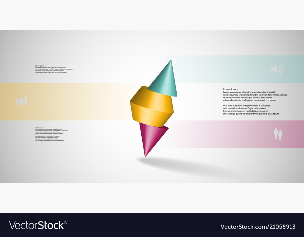 3d infographic template with spiked cone sliced