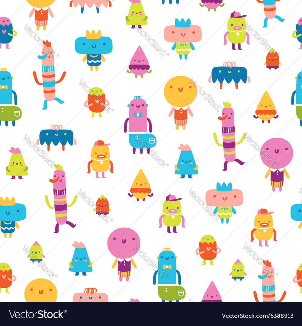 Abstract characters seamless pattern on white vector image