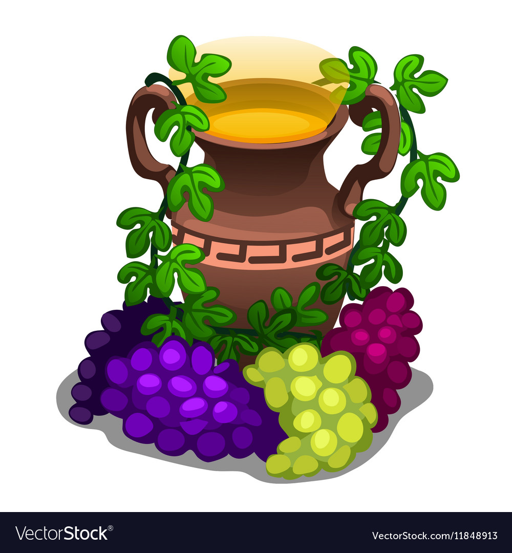 Ancient greek amphora with grape wine