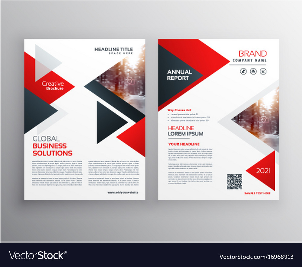 Business brochure in red black triangle shape