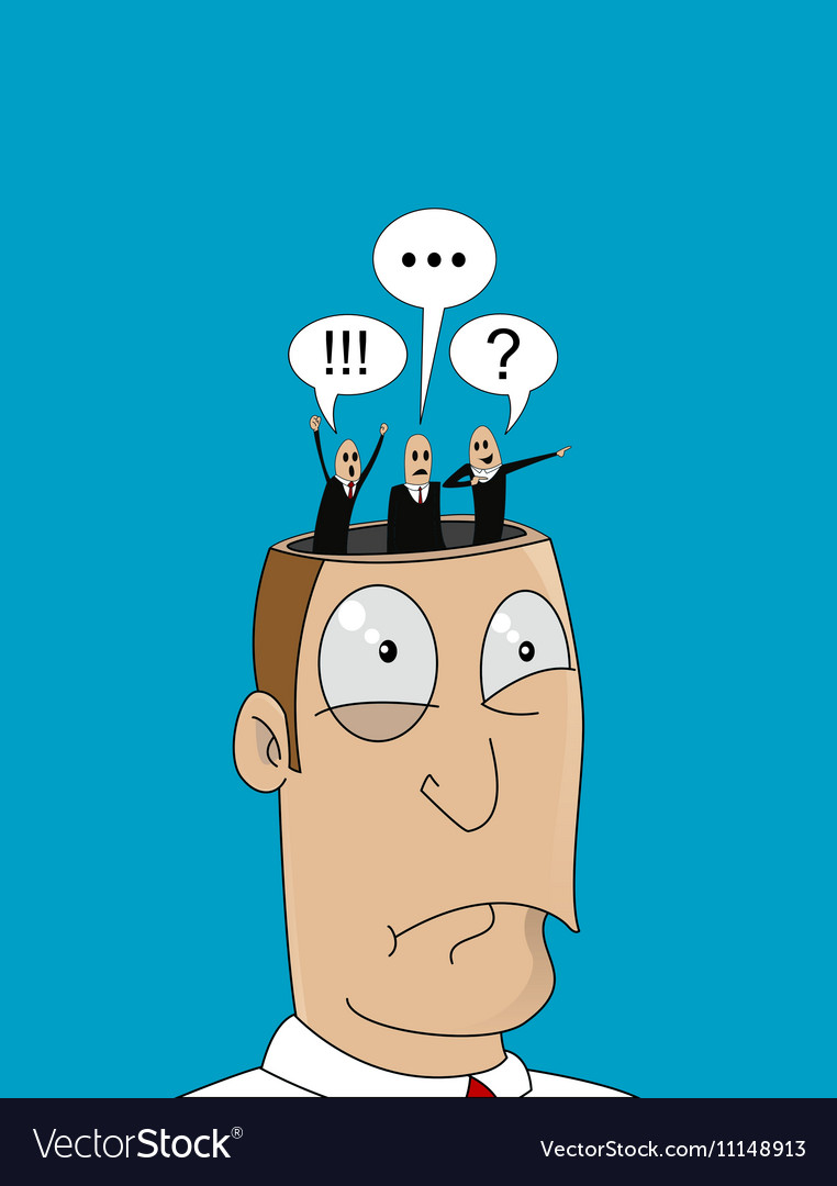 Cartoon man with with different thoughts in his