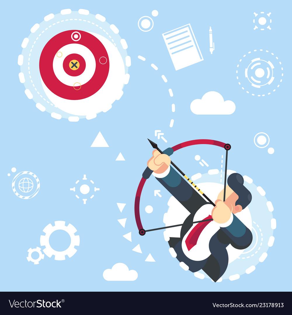 Flat businessman aimming target concept
