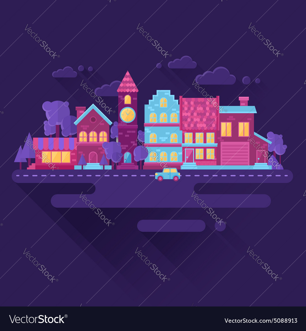 Flat houses trendy set of buildings icons