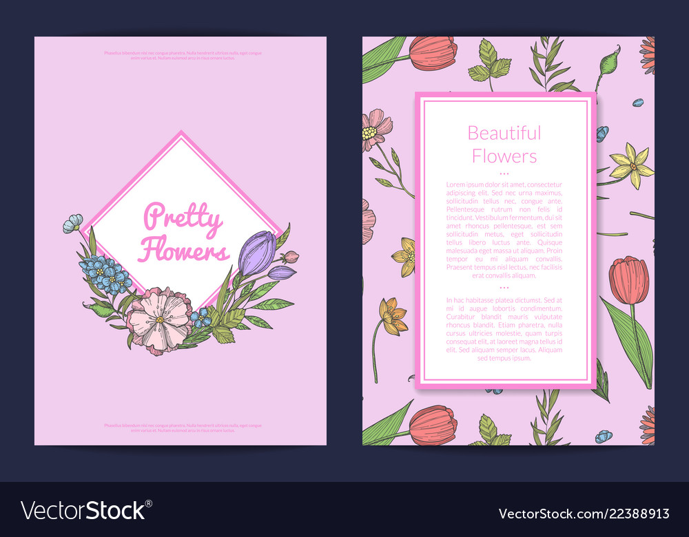 Hand drawn flowers card or flyer template