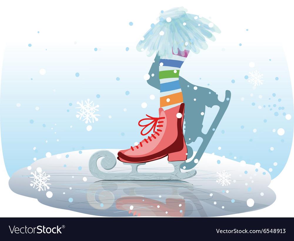 Ice skates girl vector image