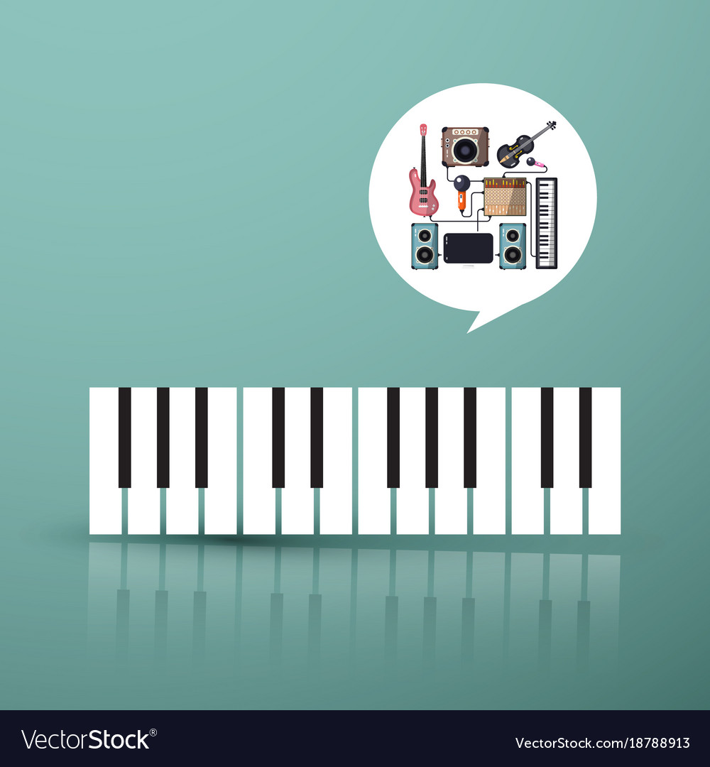 Music symbol piano keyboard with instruments in
