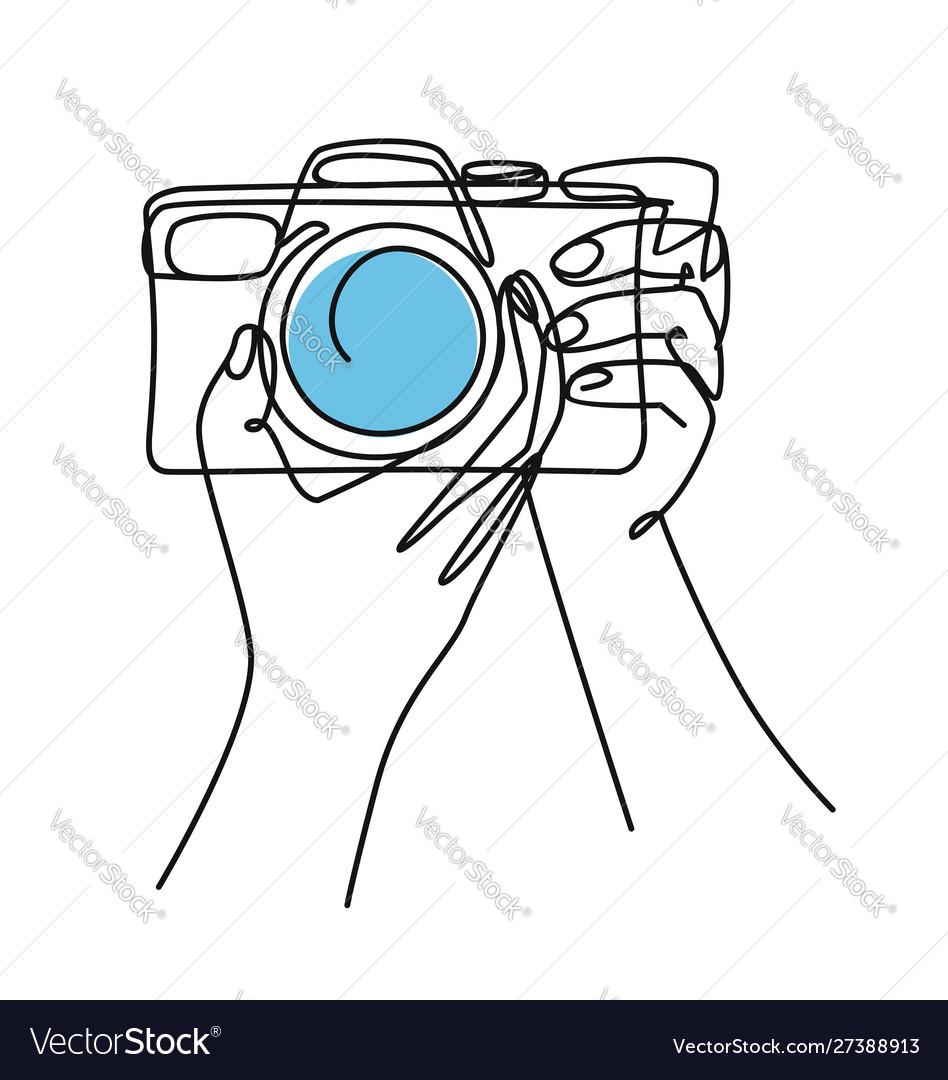 Photographer drawn continuous line doodle