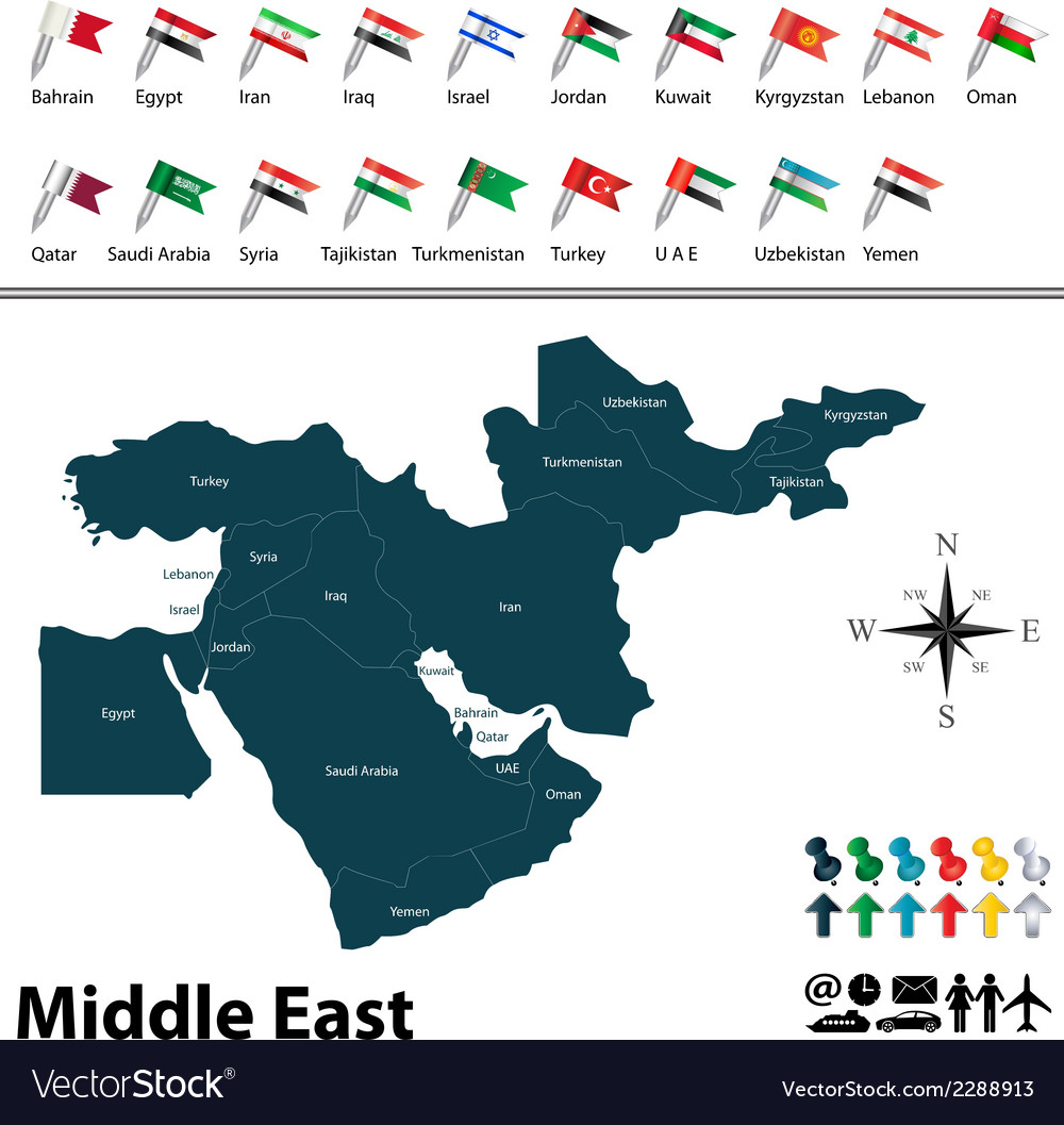 Political map of Middle East with flags